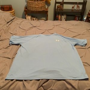 UNDER ARMOUR MEN'S BABY BLUE & WHITE SS SHIRT. L